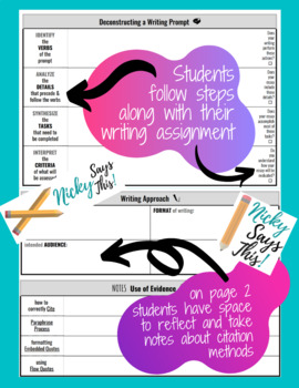 Deconstructing ANY Writing Prompt - Graphic Organizer