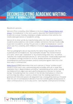 Deconstructing Academic Writing: A Look at Nominalization