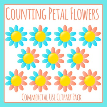 Deconstructing Ten Petals - Counting Flowers Clip Art Set for Commercial Use