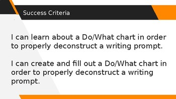 Deconstructing a Writing Prompt: Do/What Strategy