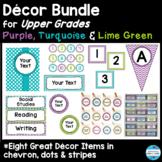 Editable Décor Bundle for Upper Grades in Purple, Turquois