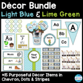 Editable Décor Bundle in Light Blue and Lime Green