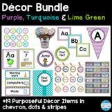 Editable Décor Bundle in Purple, Turquoise, and Lime Green