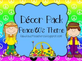 Decor Pack Peace/60's Theme {Editable}
