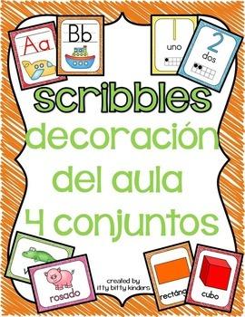 Decoración del aula: 4 conjuntos scribbles