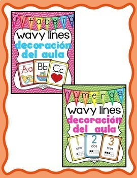 Decoración del aula: 4 conjuntos wavy lines