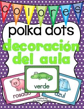 Decoración del aula: colores polka dots