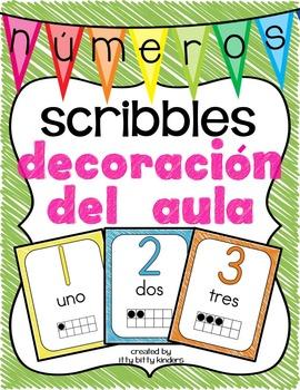 Spanish los números: Decoración del aula scribbles