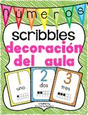 Números: Decoración del aula scribbles