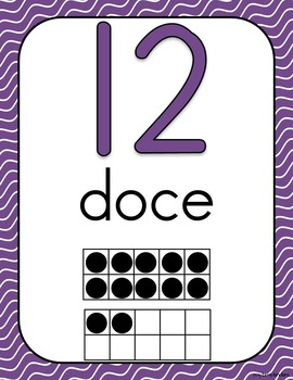 Números: Decoración del aula wavy lines