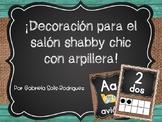 Decoración para el salón Shabby chic con arpillera