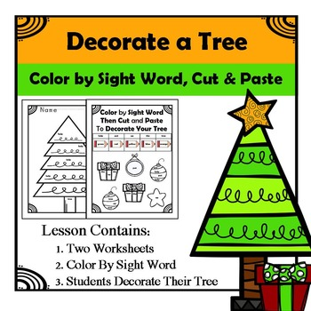Decorate Christmas Tree - Color by Sight, Cut, and Paste