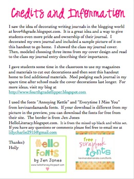 Editable Decorate Student Writing Journals Handout (FREE)