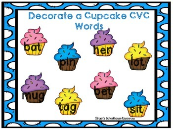 Decorate a Cupcake CVC Words Game