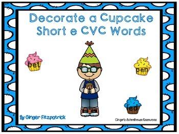 Decorate a Cupcake Short e CVC Words Game