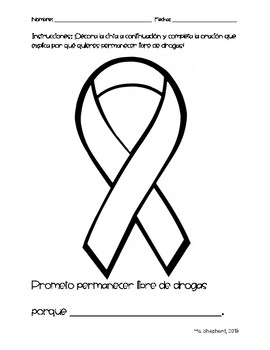 Decorate a Red Ribbon and Pledge in English and Spanish
