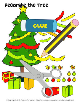 Decorate the Tree Colour, Cut and Paste Worksheet - Christmas Fun!