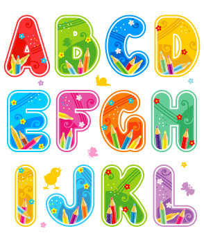 Decorated Letters A-Z, Numders 0-9, Marks, Signs, Design Elements
