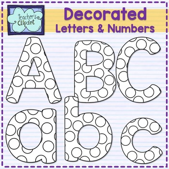 Decorated alphas letters and numbers for coloring {DOTS DESIGN}