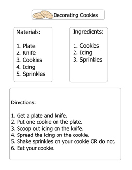 Decorating Cookies Differentiated Visual Instructions