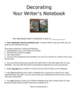 Decorating Writer's Notebook Directions