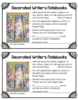 Decorating Writer's Notebooks: Parent Letter