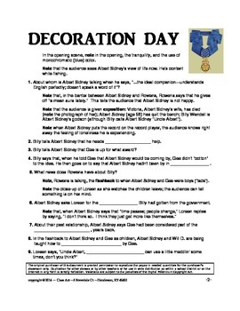 Decoration Day: The Study Guide for the Film (9 Pages, Answer Key Included, $8)