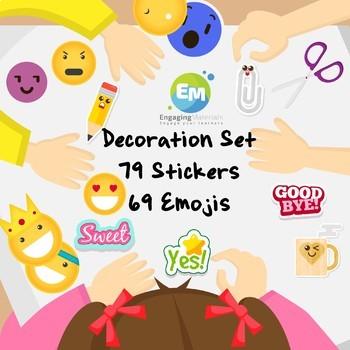 Decoration Set 79 Stickers and 69 Emojis