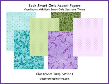 Decorative Accent Papers - Coordinates with Book Smart Owls Classroom Theme