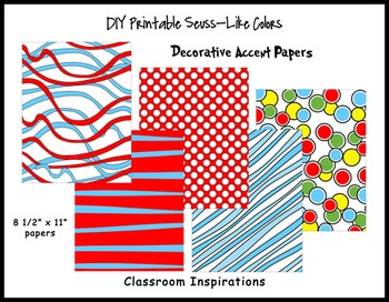 Decorative Accent Papers – Coordinates with Seuss-like Colors Classroom Theme