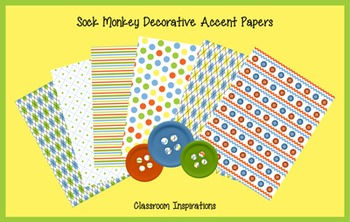 Decorative Accent Papers - Coordinates with Sock Monkey Classroom Theme
