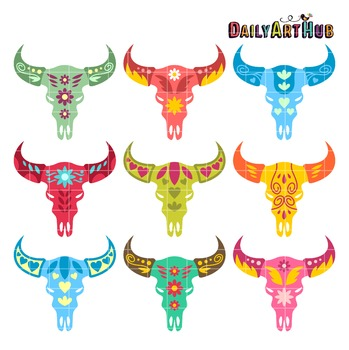 Decorative Animal Skull Heads Clip Art - Great for Art Class Projects!