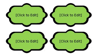 Decorative Blank Labels - Lime & Teal