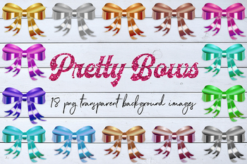 Decorative Bows Clipart, Colorful Bows, Shiny Bow