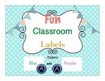 Classroom Decor Blue and Purple