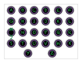 Decorative Classroom Labels Green and Purple