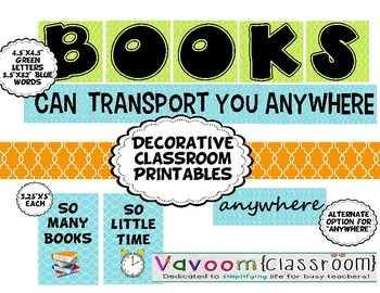Decorative Classroom Printables about Books