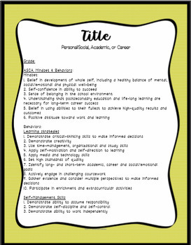 Decorative Editable Lesson Plan Template with ASCA Behaviors and Mindsets