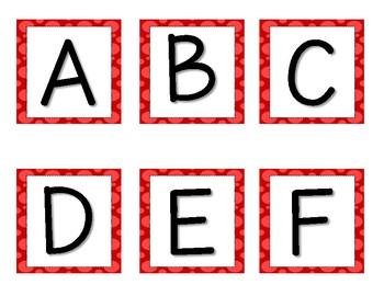 Decorative Letters Red, Black, Orange, Pink