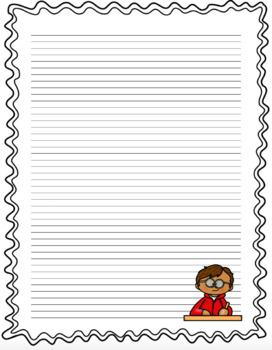 Decorative Lined Writing Paper With Borders By Education