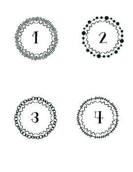 Decorative Numbers 1-8