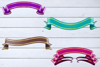 Decorative Ribbons Clipart, Shimmer Ribbons