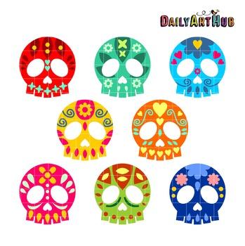 Decorative Skulls Clip Art - Great for Art Class Projects!