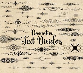 Decorative Text Dividers clipart, page separators clip art, ornamental flourish