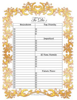 Decorative To Do List, Organizational, Prioritizing, Task Management PDF Copy