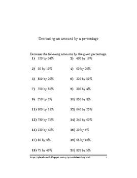Decreasing an amount by a percentage
