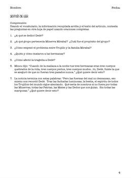 Dedé Mirabal Article Reading Guide - Guía de Lectura Artículo sobre Dedé Mirabal