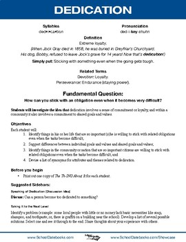 Dedication Character Lesson Plan
