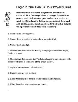 Deductive Reasoning Logic Puzzle: School Project Edition