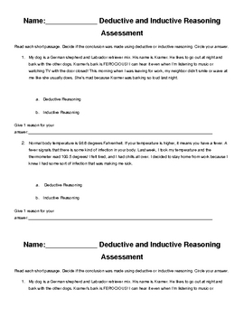 Deductive vs. Inductive Reasoning Assessment and Reflection